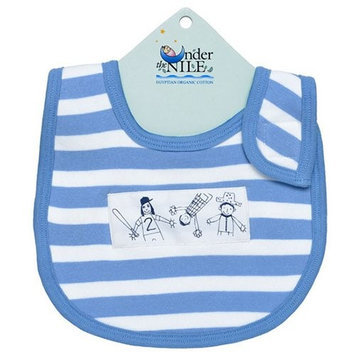 Under The Nile Blue & White Stripe Organic Cotton Bib
