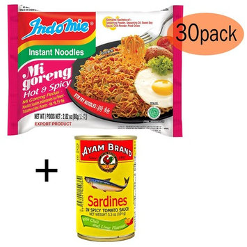BONUS PACK - Indomie Instant Fried Noodles Spicy/Hot for 1 Case (30pcs) PLUS your BONUS of Sardines in Spicy Tomato Sauce with Chili & Lime Flavour (1x155g)