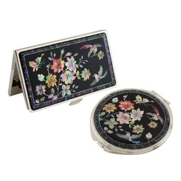 Mother of Pearl Cherry Blossom Design Magnifying Double Compact Makeup Mirror Business Credit Name Card Holder Set Stainless Steel Engraved Slim Id Money Case