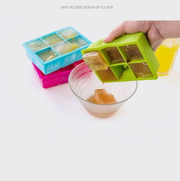 Kuke Silicone Ice Cube Trays 6 Cubes Kitchen Silicone Ice Tray Molds with lids Square-shaped Multiple Bright Colors