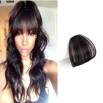 HIKYUU Bangs Hairpiece Clip-in Front Straight Hair Bangs Extensions without Temples Natural Black 100% Real Remy Human Hair Natural Looking
