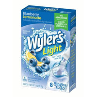 Jel Sert Wyler's Light Singles To Go! Sugar Free Drink Mix, Blueberry Lemonade, 1.1 Oz, 8 Count Box, Pack of 12