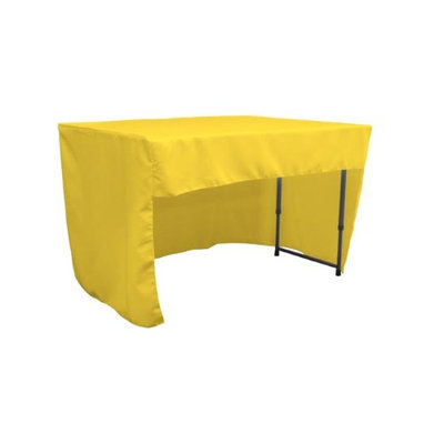 LA Linen TCpop-OB-fit-48x24x30-YellowLgtP99 1.42 lbs Open Back Polyester Poplin Fitted Tablecloth Light Yellow