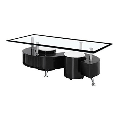 BOULE BLACK HIGH GLOSS COFFEE TABLE WITH BLACK & CLEAR GLASS TOP AND TWO STOOLS