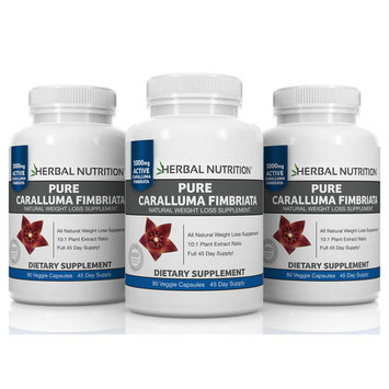 SALE THREE PACK - Pure Caralluma Fimbriata -Three 90 Count Bottles! 10:1 Extract 1000mg Per Serving