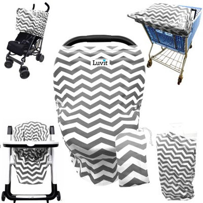 Luvit 5-in-1 Cover for Car Seats, Shopping Carts, High Chairs, Strollers and Nursing Moms in Gray & White Chevron