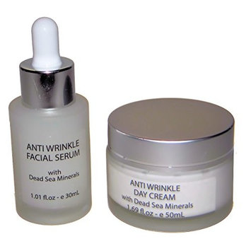 Anti Wrinkle Hyaluronic Acid Facial Serum and a Day Cream - both with Dead Sea Minerals & Vitamins A and E