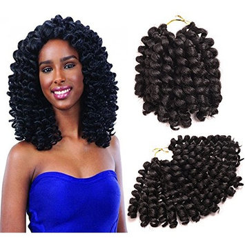 Una Jumpy Wand Curl JAMAICAN BOUNCE Sensationnel African Collection Crochet Braid (8inch 20strands/Pack 3Pack)