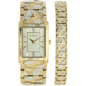 Elgin Men's Rectangular Sunray Dial Analog Watch and Bracelet Set, Gold and Crystal Pattern Bracelet