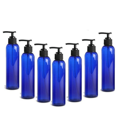 Grand Parfums 8 Oz Cobalt Blue Plastic PET Bullet Cosmo Bottle with Black Lotion Pump Dispenser (Set of 3) 240ml Empty Cosmetic Containers