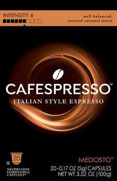 Cafespresso Medosto, Nespresso Compatible Capsules, 20 count (5 g) capsules, Intensity Level 6