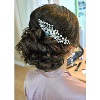 Kercisbeauty Wedding Bridal Bridesmaids Flower Girl Simple Vintage Crystal and Pearl Hair Comb Headpiece Long Curly Bun Hair Accessories,Rustic,Vintage (Rose G