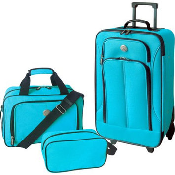 Travelers Club Luggage Travelers Club Euro Value II Collection- 3 Piece Luggage Set Neon Blue