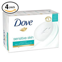 (PACK OF 4 BARS) Dove Unscented Beauty Soap Bar: GENTLE EXFOLIATING. Hypo-Allergenic & Fragrance Free. 25% MOISTURIZING LOTION & CREAM! Great for Hands, Face & Body! (4 Bars, 3.5oz Each Bar) : Beauty