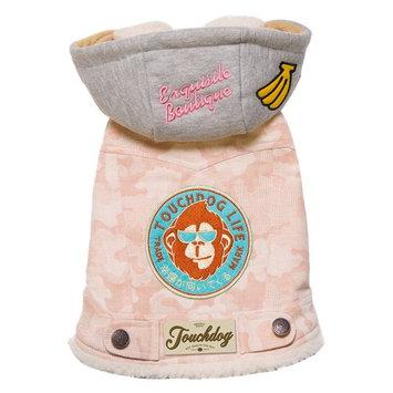 Touchdog Outlaw Designer Retro-Denim Dog Hooded Jacket Pink