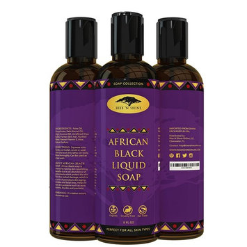 (8 oz) African Black Soap Liquid Body Wash with Coconut Oil and Shea Butter - Great Shampoo and Face Wash - Helps Clear Dry Skin, Acne, Eczema, Psoriasis - Organic Liquid African Black Soap from Ghana : Beauty