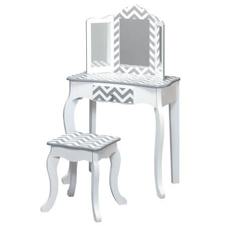 Teamson Design Corp Teamson Kids - Fashion Prints Vanity Table & Stool Set with Mirror - Grey Chevron