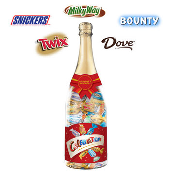 Celebrations, Chocolate Variety Mix Candy Bars In A Champagne Bottle, 21 Oz
