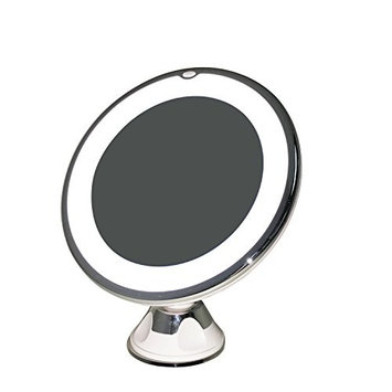 Lighted Makeup Mirror by Sparrow Decor- 7X Daylight LED Wall Mount Mirror with Locking Suction Cup And Rotating Adjustable Tilting Arm Folds Into Travel Magnifying Mirror - Illuminated Cosmetic Mirror