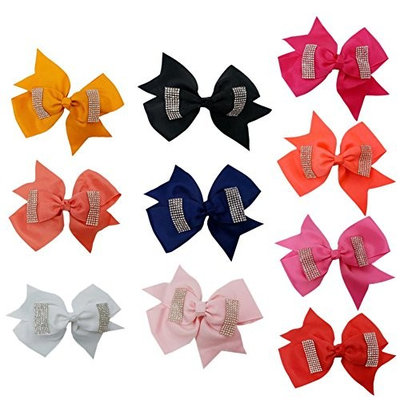 Everpert 10pcs Girls Hair Clips Headwear Bowknot Crystal Hairpins Hair Accessories