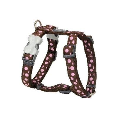 Red Dingo DH-S1-BR-ME Dog Harness Design Pink Dots on Brown Medium