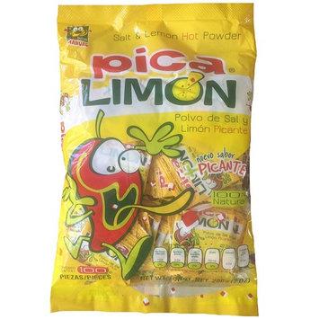 Pica Limon Polvo de Sal y Limon Picante, Salt and Lemon Hot Powder (100 Pieces)