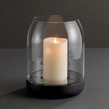 Cc Home Furnishings 11.25' Illuminating Transparent Glass Pillar Candle Holder with a Black Base