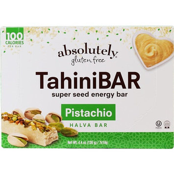 Absolutely gluten free TahiniBAR Super Seed Energy Halva Bar with Pistachio, 7 count (2 Pack)