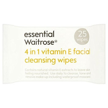 Essential 4 in 1 Cleansing Wipes Vitamin E Waitrose 25 per pack (PACK OF 2)