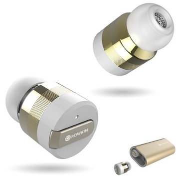 01 The One Rowkin Bit Charge Stereo: True Wireless Earbuds w/Portable Charger (Gold)