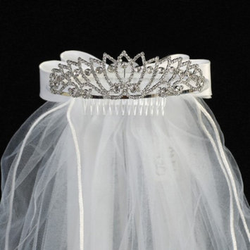 Lito Girls White Rhinestone Satin Bow Special Occasion 24' Veil Tiara