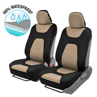 Motor Trend 3 Layer Waterproof Car Seat Covers - Modern Sideless Quick Install Auto Protection (Black & Beige)