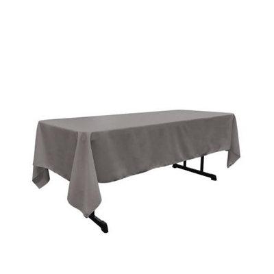 LA Linen TCpop60x102-GrayDrkP12 Polyester Poplin Rectangular Tablecloth Dark Gray - 60 x 102 in.