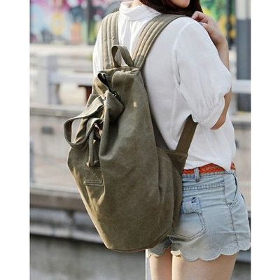 MDR Store Women's Men's Canvas Backpack Men Girl Canvas Cloth Leisure Travel Bag Couple Backpack Army Green and Coffee (Army Green)
