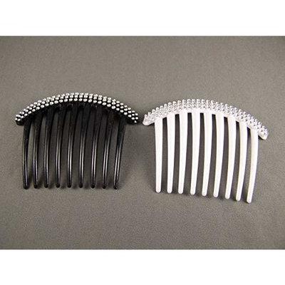Big Huge Hair Comb set pack Black White Silver plastic side clip 4 wide