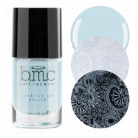 BMC Snowflake Waltz Collection: Doll Dance - Gray Blue Cream Creative Art Stamping Polish