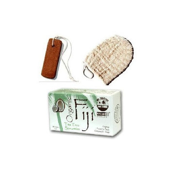 Terra Cotta Foot Scrubber Massager and Tea Tree/Spearmint Essential Oils Barsoap with 100% Virgin Coconut Oil