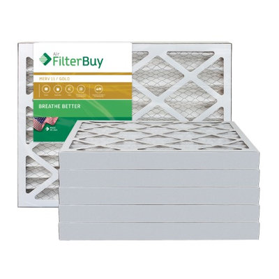 AFB Gold MERV 11 14x25x2 Pleated AC Furnace Air Filter. Filters. 100% produced in the USA. (Pack of 6)
