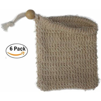 Natural Exfoliating Sisal Soap Saver Bag Pouch Holder for Shower Bath, Pack of 6