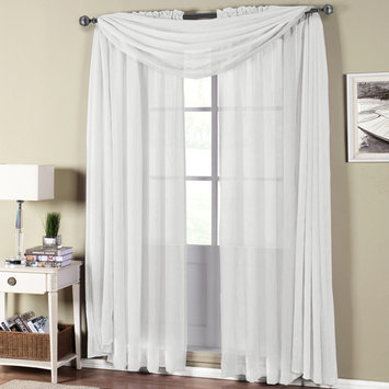 Abri Rod Pocket Crushed Sheer Window Treatement 100-Percent Polyester ( Sold as Single Panel OR Scarf )