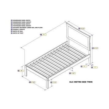 Metro Twin Platform Bed with Open Foot Board in Walnut