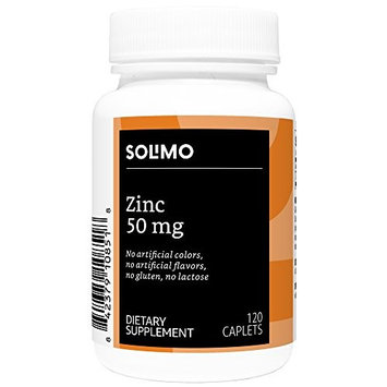 Amazon Brand - Solimo Zinc 50mg, 120 Caplets, Four Month Supply