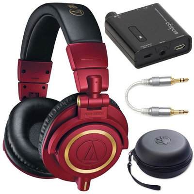 Audio-Technica ATH-M50xRD Professional Studio Monitor Headphones (Red Limited Edition) Bundle