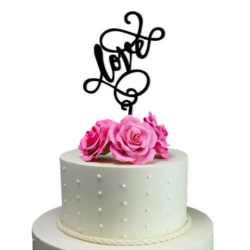 Sugar Yeti Love Unique Wedding Cake Topper Solid Black Monogram calligraphy Made From Food Grade Acrylic Designed and Manufactured in California USA Free Shipping