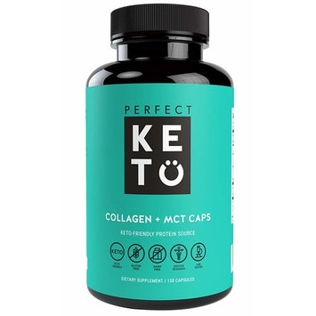 Perfect Keto Collagen Pills: Hydrolyzed Peptides Capsules with MCT Supplement Best to Support Youthful Looking Hair, Skin, Nails. Coconut Oil. Collagen Softgel for Women & Men [150]