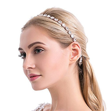Urberry Silver Wedding Bridal Headband with Round Clear Crystals and Ivory Ribbons