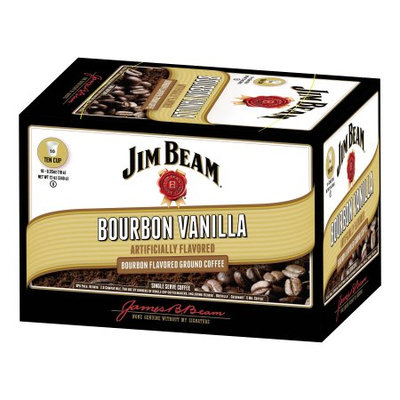 White Coffee Jim Beam Broubon Vanilla Ground Coffee 12oz.
