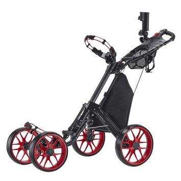 Caddy Tek CaddyTek One-Click Folding 4 Wheel Version 3 Golf Push Cart, Red