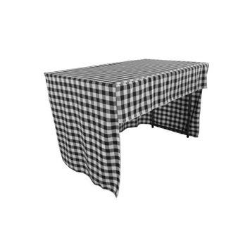LA Linen TCcheck-OB-fit-48x24x30-BlackK24 Open Back Fitted Checkered Classroom Tablecloth White & Black - 48 x 24 x 30 in.