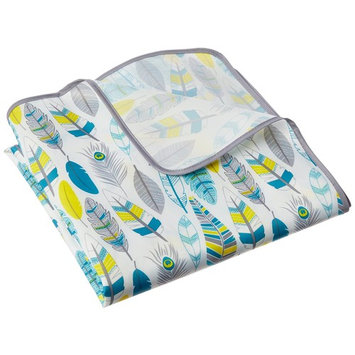 Bumkins Splat Floor Mat for Highchairs (Waterproof), Feathers
